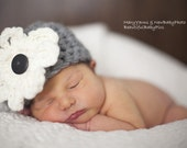 Newborn Hat Flower Photo prop in GRAY or ANY COLOR - Photography Baby Hat