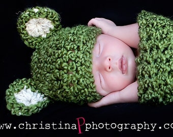 Set-Hat-Teddy Bear Cocoon Newborn Baby Photo Prop in GRASS GREEN or any color... Photography Baby