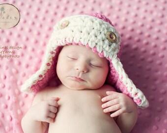 The Pink Aviator Newborn Baby Photoprop - Photography Little girl Pilot Hat newnorns infant girl photo shoot all babies newborns
