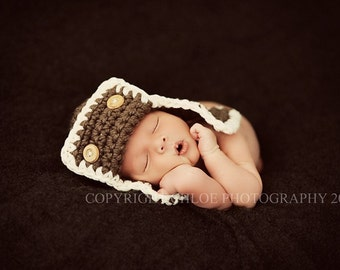 The AVIATOR Pilot Hat Newborn Baby Photo prop in Brown or any color Photography Hat all Babies Photo shoot newborns new baby infants