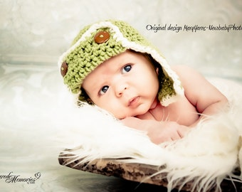 AVIATOR Pilot Hat Newborn Baby Photo prop in GREEN Photography Hat all Babies Photo shoot newborns new baby infants The Perfect GIFT Babies
