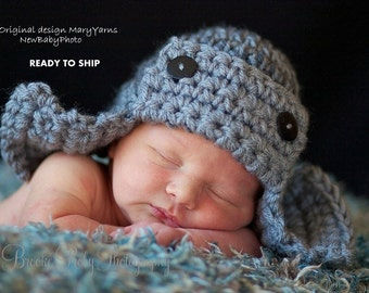 AVIATOR Hat Newborn Baby Photo prop in GRAY - Photography Session Hat