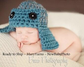 Pilot Aviator Hat Newborn Baby Photo prop in Blue Gray - Photography Hat all babies Infant girl Boy Photo shoot