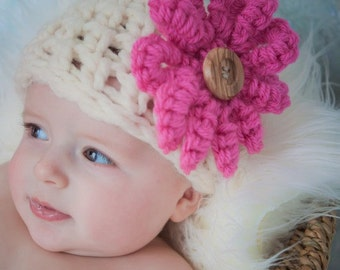 Chunky Newborn Hat /Flower Cream/Pink or any color ... Photography Baby Prop