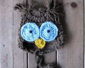 Little OWL Hat Blue Eyes Newborn Baby Photo Prop / Photography Infants Girl Boy Owl Hat / Photo Shoot All Babies Hat / Owl Costume Owl Hat