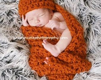 Hat and Cocoon Newborn Baby Photo Prop PUMPKIN / Photography all babies Cocoon Wrap and Hat / Photo Shoot Gift Newborns Pumpkin Hat and wrap