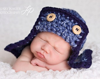 Aviator Flyer Hat Newborns Photo prop 2Blues / Gift New Baby Photo Shoot Hat / All Babies Winter Hat / Pilot Flyer Hat Kids Toddlers / Hat