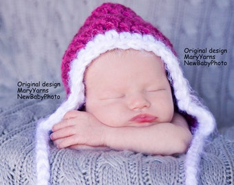 Pixie Hat Newborns Baby Photo prop in Raspberry / Photography Baby Beanie Pixie Hat / Perfect Gift Photo New Baby HAT / Crochet Knit Hat