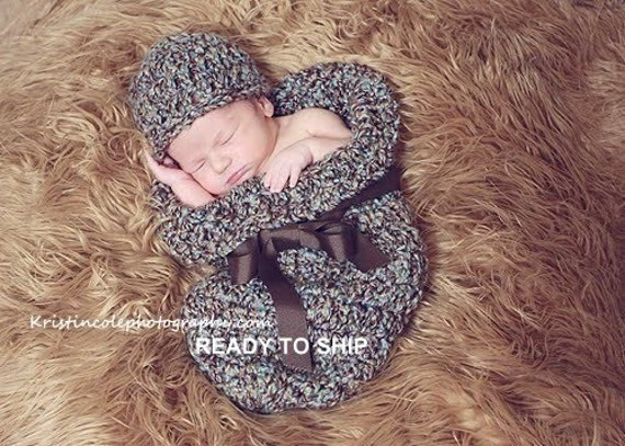 Cocoon Set Newborn Photo Prop in Brown Blue Photography Baby 2 pcs Hat and Cocoon all babies photo session infant girl boy