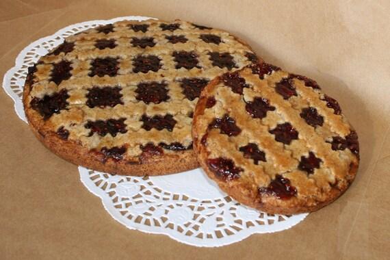 Linzer torte tart strawberry raspberry walnut dessert large 7.75 inch