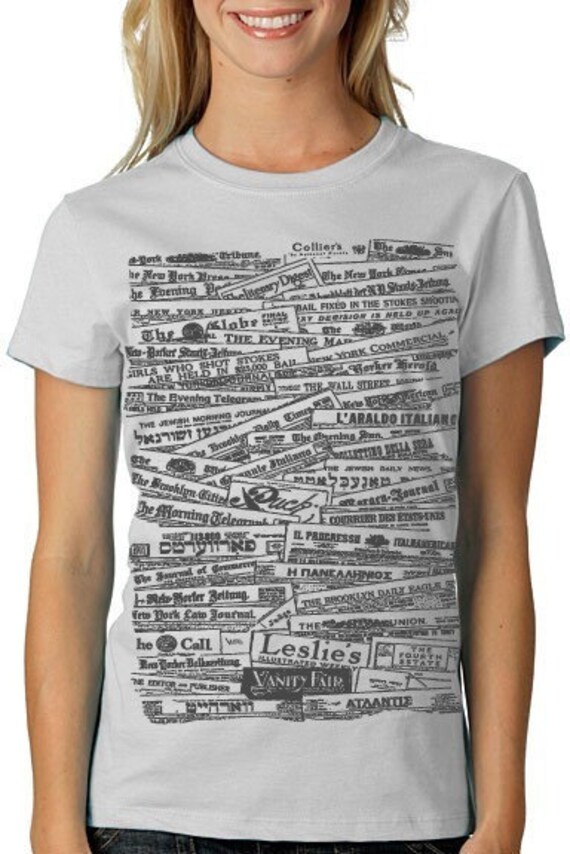 NEWSPAPER Tshirt Typography Tee Grey WOMENS history shirt