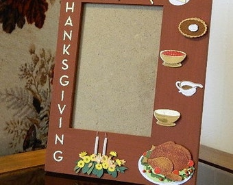 Thanksgiving picture photo frame turkey fall leaves 4x6