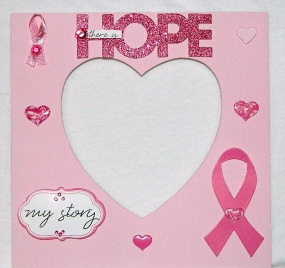 Breast Cancer Picture Photo Frame Awareness Hope 5x7 heart