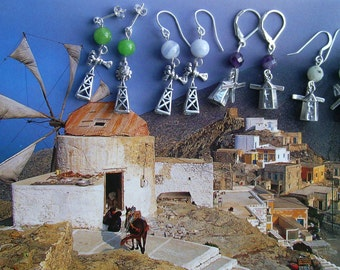 WINDMILL Wind Pump EARRINGS .925 for Molinologists and Renewable Energy Supporters