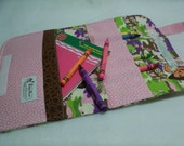 Pink Green Brown Jungle Dora the Explorer Ready-to-Go Childs Travel Crayon tote with crayons - Shipping included