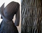 Chic 1950's black crepe and taffeta new look party dress cocktail dress  full circle skirt rockabilly swing  - Medium