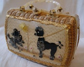 Darling 1950's pearly white lucite and woven straw purse with poodles and butterfly novelty handbag vlv