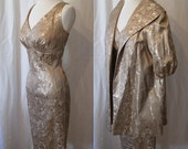 ON Hold Stunning 1950's LIlly Diamond designer gold  cocktail  prom  party dress with matching coat show stopper vlv - size Medium