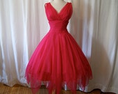 Lovely designer 1950's Miss Elliette California silk chiffon party dress Valentines vlv bombshell chic new look Mad Men - size Small