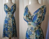 Lovely 1950's Saks Fifth Avenue floral printed blue silk chiffon party dress vlv bombshell - size Medium