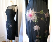 On HoldGorgeous 1950's black silk chiffon overlay cocktail dress with pink floral appliques shawl back bombshell vlv - size Medium to Large