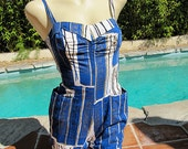 Cute 1950's Alfred Shaheen bright blue and white playsuit tiki vlv pin up girl - size Extra Small to Small