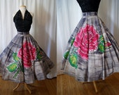 Killer 1950's hand painted pink rose new look circle skirt with sequins vlv bombshell spring pin up - size Medium