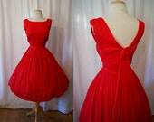 Gorgeous 1950's XL deep red silk chiffon new look party dress with shawl back vlv pin up girl chic - size Extra Large