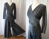 On Hold for Taryn  Sexy 1950's Fredrick's of Hollywood black and silver lurex pant jump suit vlv vixen - size  Small to Medium
