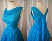 On Hold Gorgeous 1950's vivid turquoise silk chiffon new look party dress with shawl back summer vlv pin up girl - size Medium
