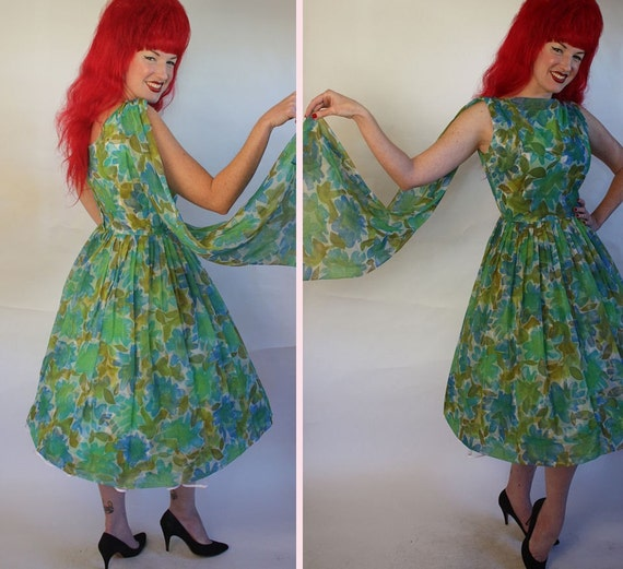 Fabulous 1950's  Party  Prom Dress Blue and Green Floral Chiffon with Hanging Back Sash - Built-In Crinoline - VLV - Size M