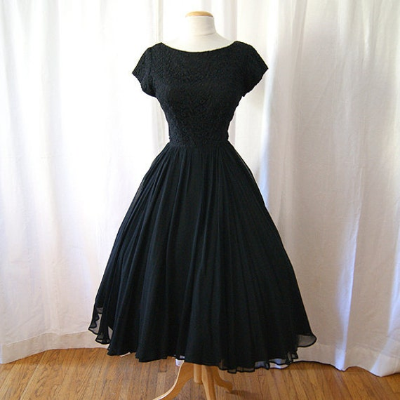 Darling 1950's black silk chiffon and lace new look party dress Mad Men - Medium to Large