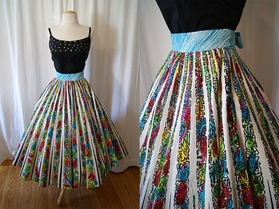 On Hold Festive 1950's hand painted white cotton circle skirt with sequins Mexico vlv pin up girl - size Small Medium Large