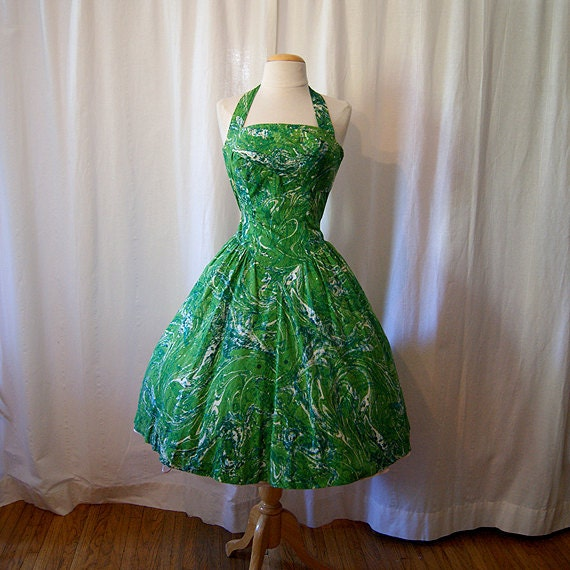 Gorgeous 1950's designer Alix of Miami green cotton new look halter party dress rhinestone pin up girl tiki - size Small