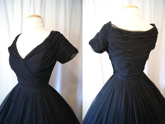 CHIC 1950's black silk chiffon new look party prom cocktail dress vlv bombshell - size Medium