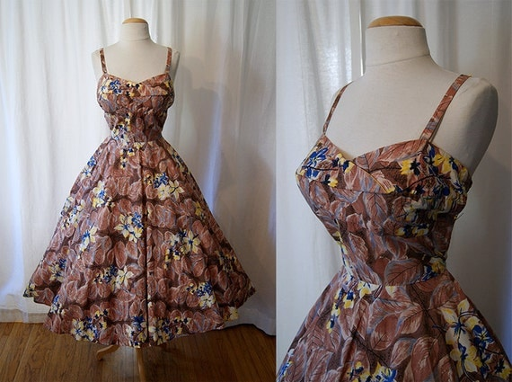 Killer 1950's Hawaiian Casuals by Stan Hicks brown floral cotton new look sun dress tiki vlv show stopper - size Medium to Large