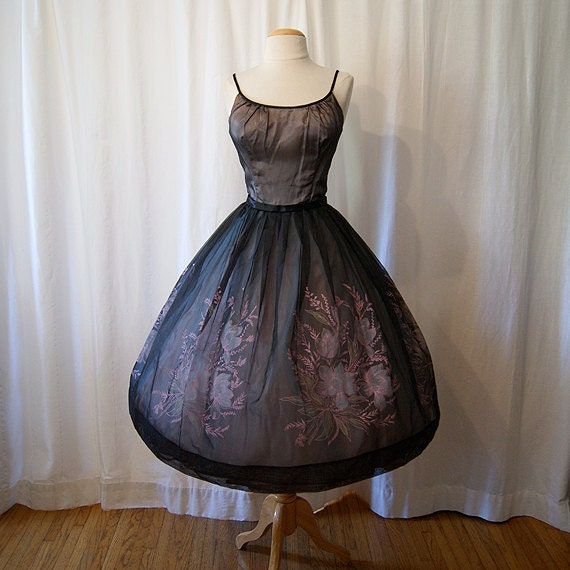 Darling 1950's black sheer silk chiffon party prom new look dress with pink floral blue tulle vlv show stopper - size Medium