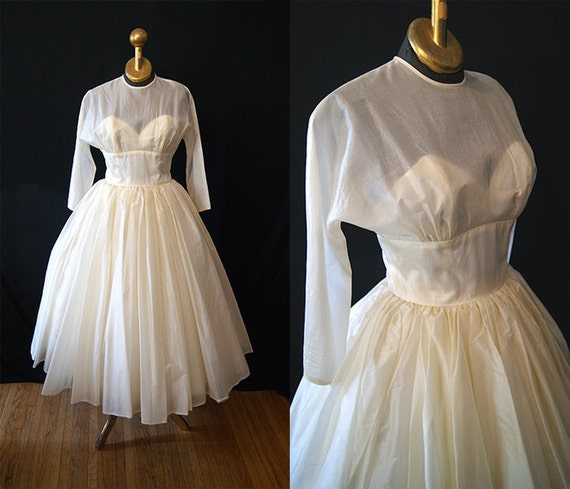 Wedding bells 1950's ivory silk organza new look wedding / prom dress  sheer neckline with sweetheart bust tea length vlv bride - size Small