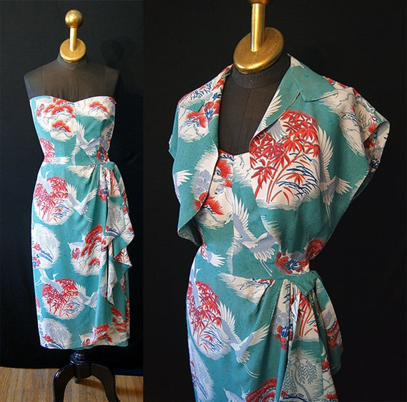ON hold Stunning 1950's Lauhala Hawaiian strapless sarong dress with matching bolero vlv tiki show stopper - size Small