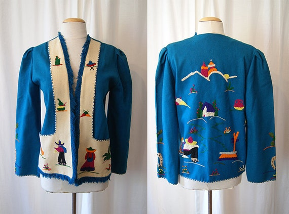 Rare 1940's two tone turquoise and cream wool Mexican tourist jacket with cactus vlv rockabilly Mexicana - size Medium