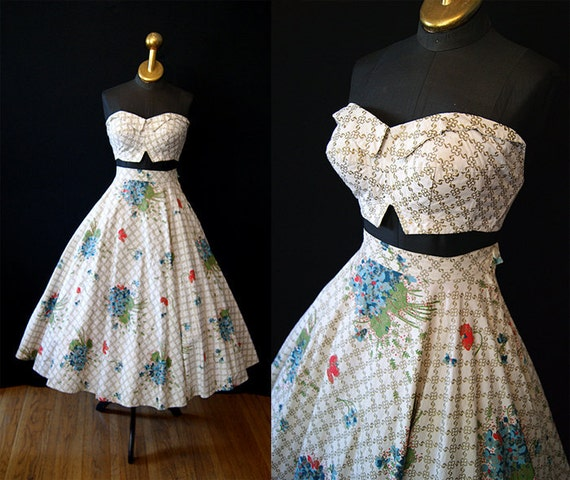 Killer 1950's two piece sun dress strapless top circle skirt gold floral print by Paulette vlv show stopper - size Small to Medium