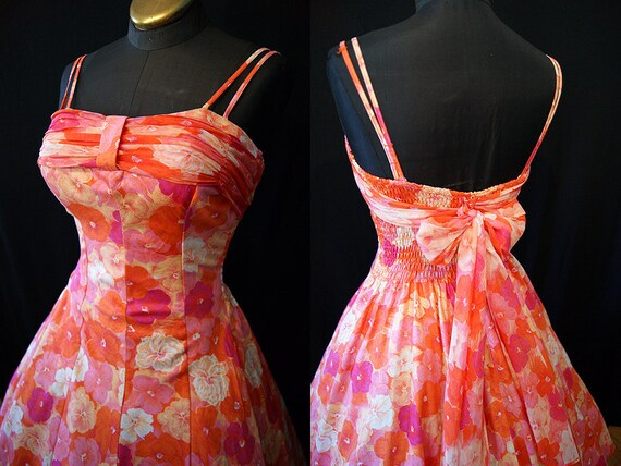 On Hold Killer 1950's Designer  floral print summer sun party dress by Cole of California tiki pin up - size Small to Medium