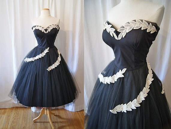 On Hold Stunning 1950's black strapless sweetheart formal prom  party dress w/ rhinestone appliques vlv show stopper - size Medium to Large