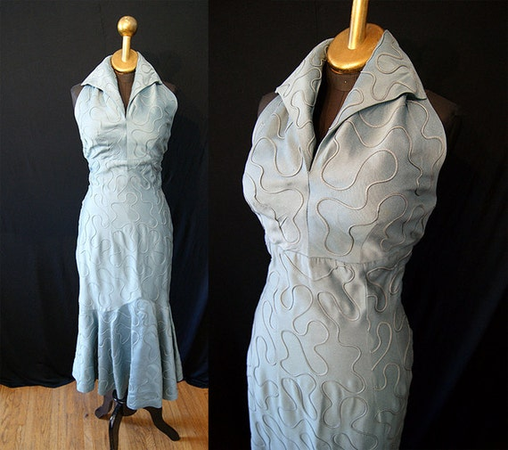 On Hold Gorgeous 1950's blue silk halter fish tail cocktail party dress with shelf bust vlv sexy - size Medium to Large