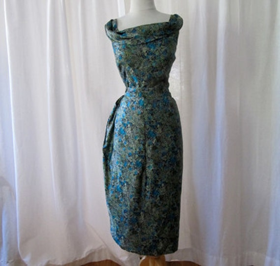 Chic  XL1950's Bullock's of Pasadena blue silk floral sarong style cocktail dress vlv XL - size Extra Large