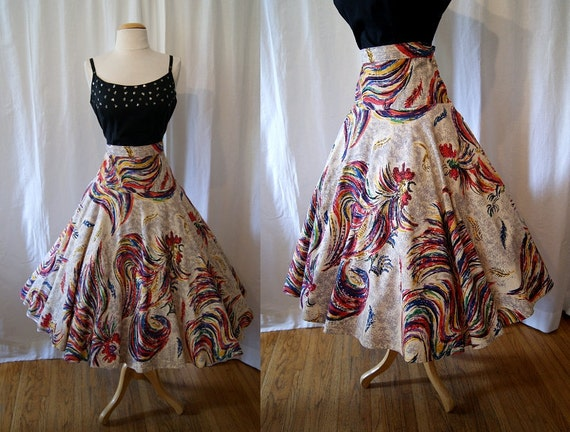 Festive 1950's hand painted Mexican circle skirt with roosters, feathers and sequins vlv show stopper - size Large