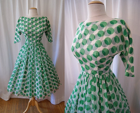 Stellar 1950's green and white sheer chiffon polka dot print new look party dress vlv rockabilly chic - size Extra Small to Small