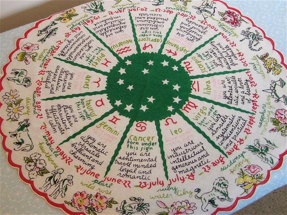 Vintage Handkerchief Astrology Signs
