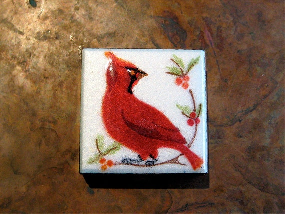 Enamel Pill Box Cardinal Bird