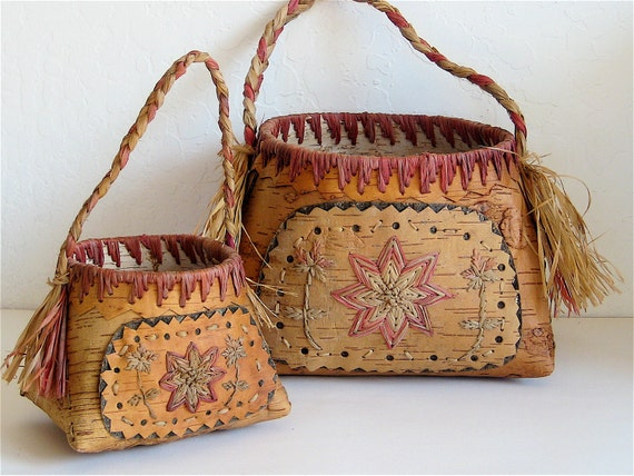 Old Handmade Baskets : Vintage baskets old birch bark handmade pair